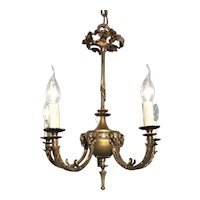 Small and Lovely Empire Revival Bronze and Brass Chandelier / Pendant Light with Buck