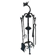 Vintage Wrought Iron Dragon Heads Fireplace Fire Set Tools