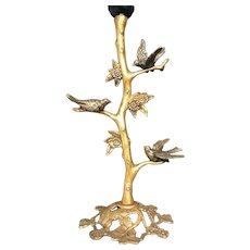 Art Deco Handcrafted Gilt Bronze Birds, Bush & Flowers Table or Desk Lamp