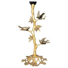 Art Deco Handcrafted Gilt Bronze Birds, Bush & Flowers Table or Desk Lamp