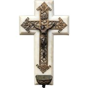 Early 20th Century Marble, Brass & Spelter Christ Crucifix Holy Font
