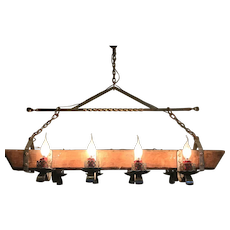 Large Wrought Iron & Oak Wood 8 light Castle Chandelier