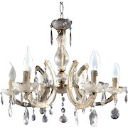 Size able Vintage French Six Light Crystal Chandelier