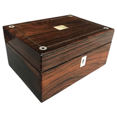 English Rosewood Veneered and Mother of Pearl Jewelry Casket Box