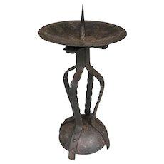 Stunning Stylish Arts and Crafts Wrought Iron Candlestick