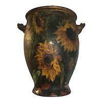 Large Antique Terracotta Pot with Old Hand Painted Sunflower Decoration