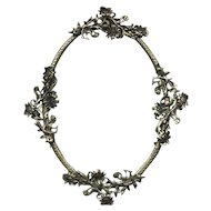 Early 20th Century Art Nouveau Bronze Oval Picture or Mirror Frame with Floral Design