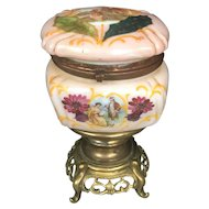 Antique French Rose Opaline Glass Casket Box Hand Painted Enamel Decor