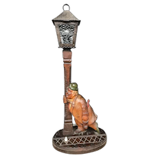 Antique Black Forest Table Lamp with Drunk Figure