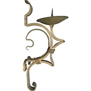 Large Arts and Crafts Brass Wall Candle Sconce, Candlestick, Candelabra, Holder