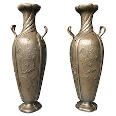 Stunning Antique Art Nouveau Pair Pewter Vases