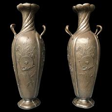 Stunning Antique Art Nouveau Pair Pewter Vases