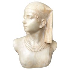 Italian Art Deco Hand Carved Alabaster Bust from Young Girl Egyptian Style
