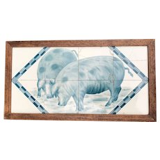 Decorative Early 1900 Art Deco Tile Tableau with Pigs