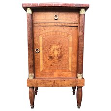 Antique of Napoleon Style in Burl Walnut Wood & Marble Inlaid Cabinet