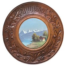 Swiss Black Forest wooden Wall Plate, Carved Alpine Flowers with Painted Landscape
