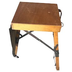 Unique Vintage Wooden Foldable into Suitcase Painter / Artist Stool for Studio