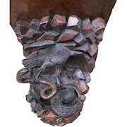 Early Antique Carved Burl Walnut and Oak Wall Bracket, Scene with Snake and Eagle.