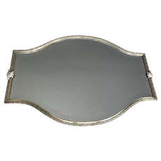 Large Art Deco Geometric Silvered Bronze & Mirror Footed Display Tray.