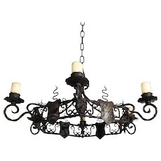 Rustic Wrought Iron Castle Shield Chandelier with Six Candles