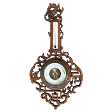 Gabriel Viardot (Attributed) Japonisme Style Fine Carved Wall Barometer with Dragon