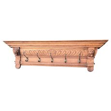 Large Antique and Quality Carved Wood Wall Coat Rack with Lion Heads