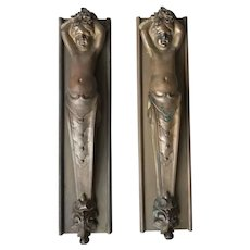 Antique Pair Fine Bronze Putti Wall Plaque Consoles