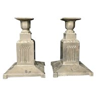 Stylish Pair of Metal Candlesticks or Candleholders