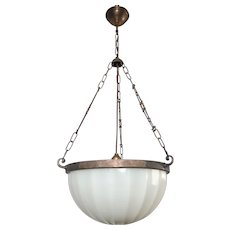 Striking Art Deco Period Glass, Brass and Metal Pendant Light ca 1920.