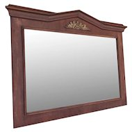 Antique Empire Style Mirror in Mahogany Frame with Bronze