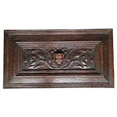 Antique, 18th Century Carved Oak Wall Plaque with Cherub Sculpture