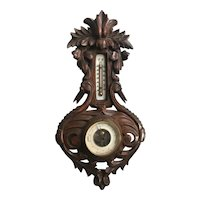 Early 1900 Black Forest Hand-Carved Wall Barometer with a Pair of Crane Sculptures