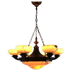 Shipping Free! Large & Top Quality Neoclassical Bronze and Alabaster Chandelier Pendant Light