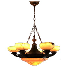 Large & Top Quality Neoclassical Bronze and Alabaster Chandelier Pendant Light