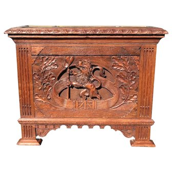 Antique Hand Carved Neoclassical Revival Oak Umbrella Stand