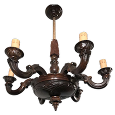 Early 1900 Art Nouveau Era Six-Light Qaulity Carved Wooden Pendant / Chandelier