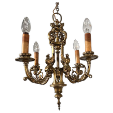 Mid 19th Century Hand Crafted Fine Bronze Sculpture Pendant Light/ Chandelier