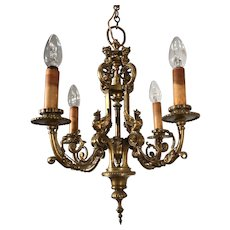 Mid 19th Century Hand Crafted Fine Bronze Sculpture Pendant Light, Fixture