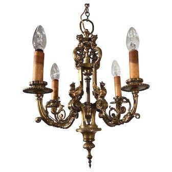 Mid 19th Century Hand Crafted Fine Bronze Sculpture Pendant Light, Fixture
