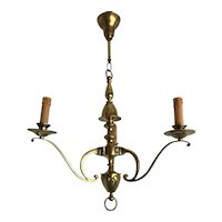 Chic Art Nouveau Bronze Chandelier Pendant