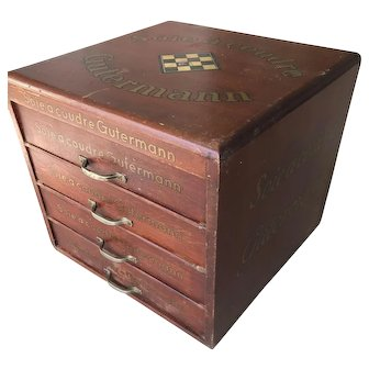 Vintage, 1930s Wooden Display Sewing Chest Drawers Cabinet