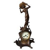 Pretty Women with Flower Hat, Elegant Art Nouveau Table Mantle Clock