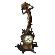Pretty Women with Flower Hat, Elegant Art Nouveau Table Mantle Clock