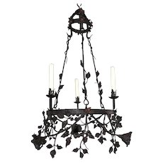 Handcrafted Wrought Iron Candle Pendant Light w. Flowery Decor