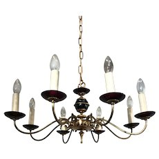 Fine Bronze and Purple Glass Chandelier Fixture Pendant
