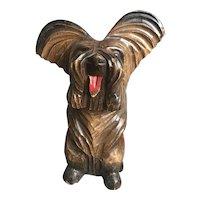 A Carved Wood Terrier Dog Brush Holder