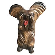 A Carved Wood Terrier Dog Brush Holder