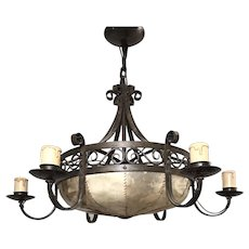 Arts & Crafts Wrought Iron with Hide Shade Chandelier