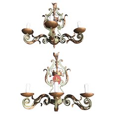 Pair Antique Castle French Wrought Iron Wall Sconces