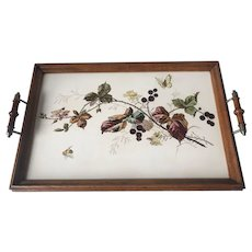 Top Condition Antique Tile Serving Tray with Beautiful Flower and Butterfly Decor